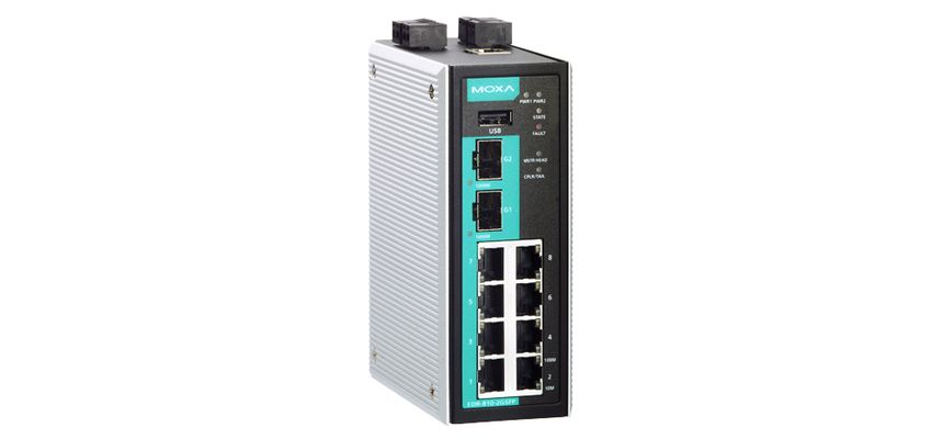 EDR-810-2GSFP - Roteador , Firewall/Nat Industrial, Switch Gerenciável Layer 2, 8X10/100Baset(X), 2X 1000Base Sfp