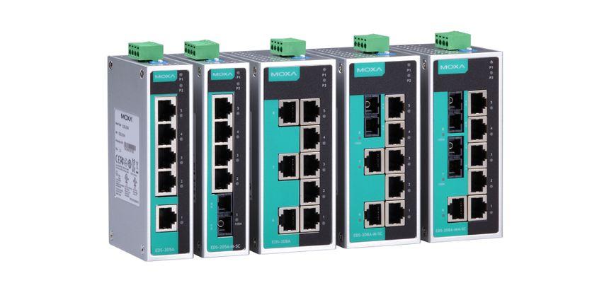 EDS-205A-M-ST  - Switch Ethernet Nao Gerenciavel, 4X 10/100Baset(X), 1X 100BasefxMultimodo, Conector St, Alimentação Redundante