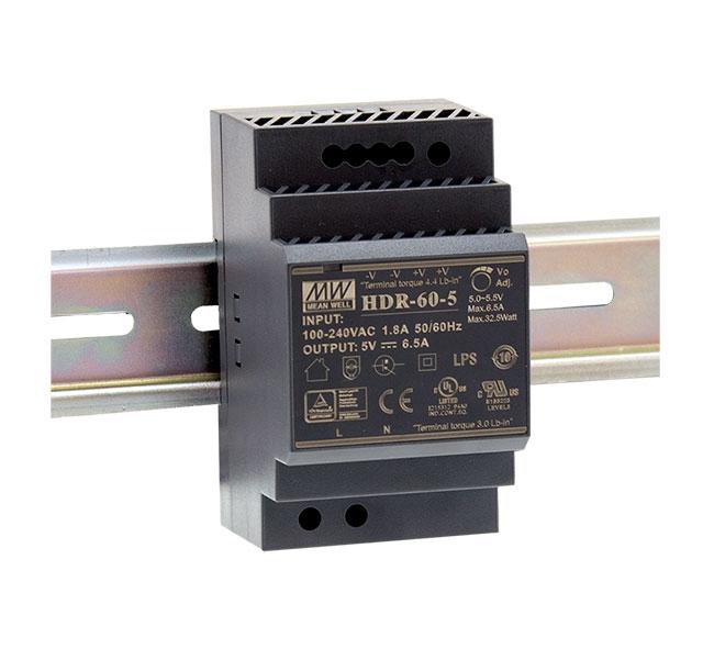 HDR-60 - Fonte de Alimentação Chaveada 60Watts, Função PFC, Trilho DIN