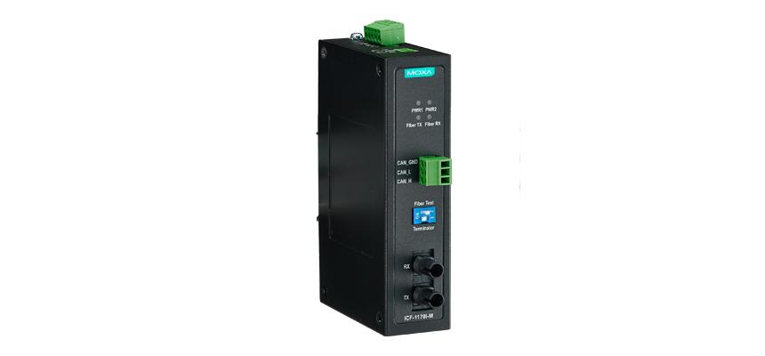 ICF-1170I-M-ST - Conversor Industrial Canbus Com Isolação 2Kv Para Fibra ÓticaMultimodo, Conector St