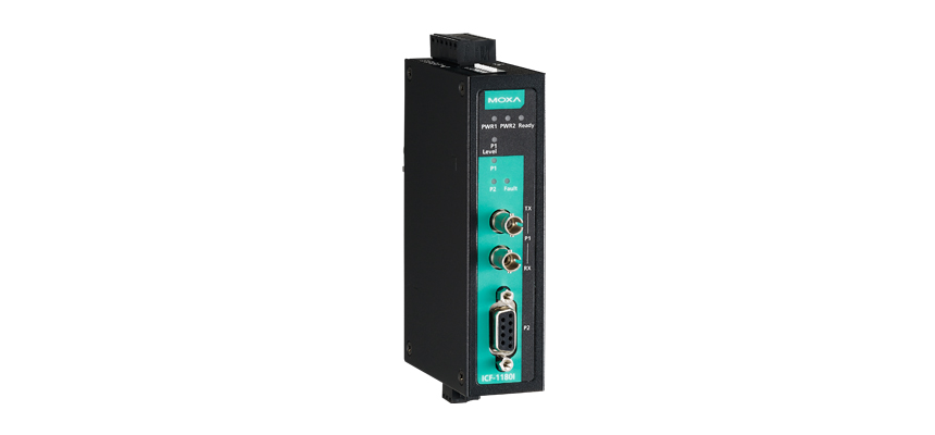 ICF-1180I-S-ST - Conversor Industrial Profibus Com Isolação 2Kv Para Fibra ÓticaMonomodo, Conector St