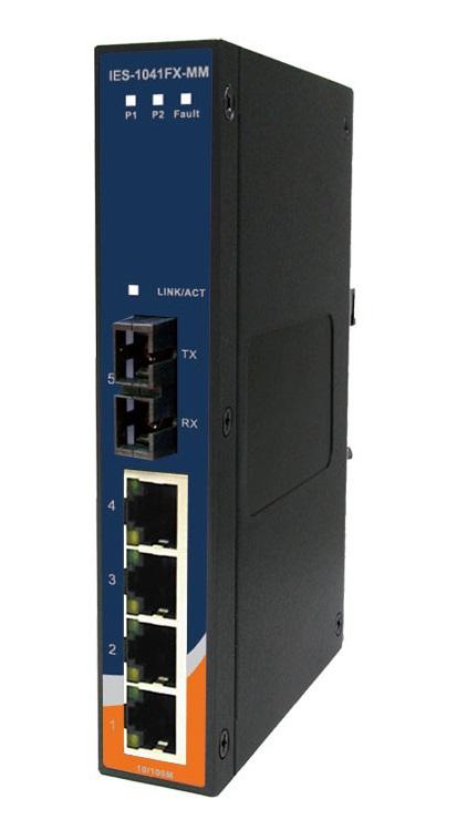 IES-1041FX-MM-SC - Switch Ethernet Industrial Não Gerenciável 5 Portas, 4X 10/100Baset(X) E 1X 100Basefx