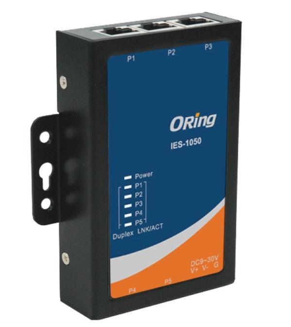 IES-1050 - Switch Industrial não Gerenciável com 5 Portas 10/100Base-TX (RJ-45), Alimentação 9~30Vdc