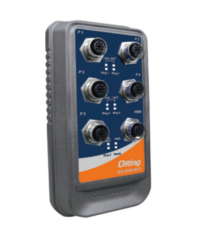 IES-2050-M12 - Switch Ethernet Industrial Gerenciável 5 Portas 10/100Baset(X), Conector M12, Ip67