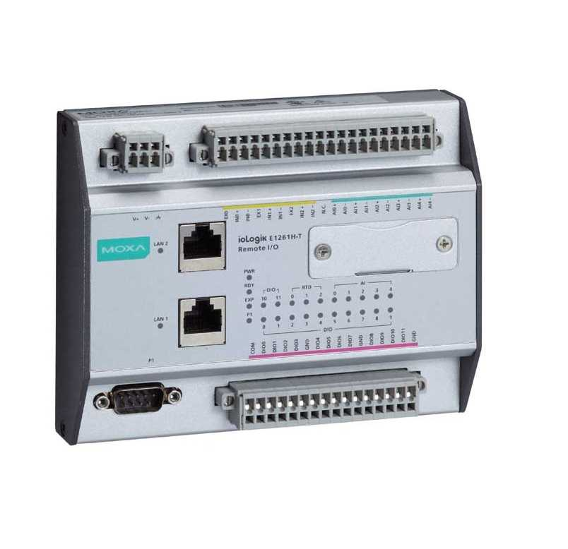 ioLogik E1261H-T  - Ethernet Remote I/O With 2-Port Ethernet Switch, 12 Dios, 5 Ais And 3Rtds