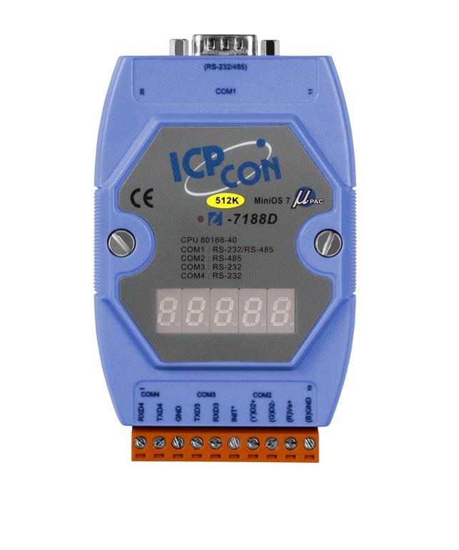 LR-7188D/512 - CONTROLADOR EMBARCADO, COM 512K FLASH, MiniOS7, 4 PORTAS SERIAIS, COM DISPLAY