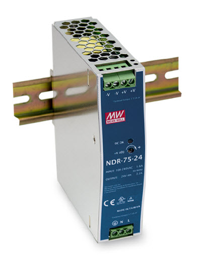 NDR-75 - Fonte de Alimentação Chaveada 75Watts, Trilho DIN
