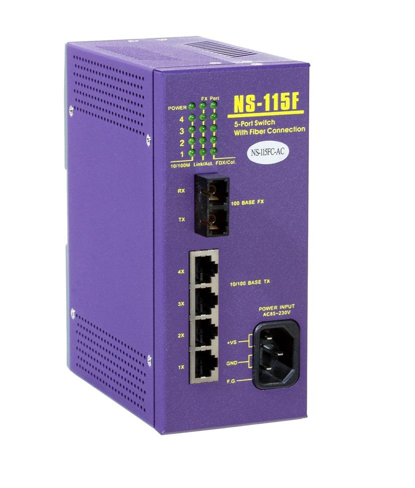 NS-115FC-AC - Switch Ethernet Industrial Não Gerenciável 4 10/100Base-T(X) E 1 100Base-Fx Multimodo, Sc, Alimentação 85~230Vac