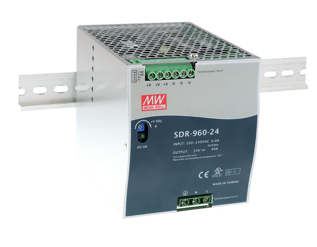 SDR-960 - Fonte de Alimentação Chaveada 960Watts, Função PFC, Trilho DIN