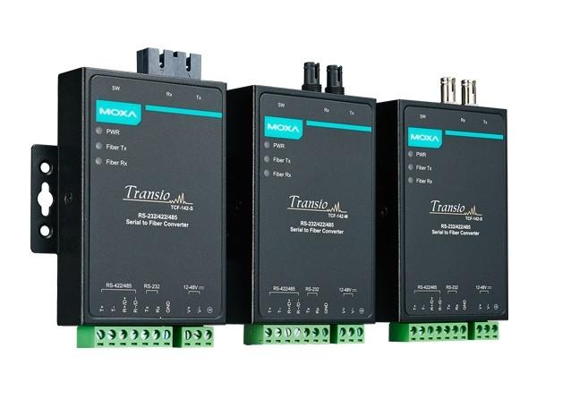 TCF-142-S-ST - Conversor Serial Rs-232/422/485 Para Fibra Monomodo, Conector St, 40Km, Suporta Anel Em Fibra