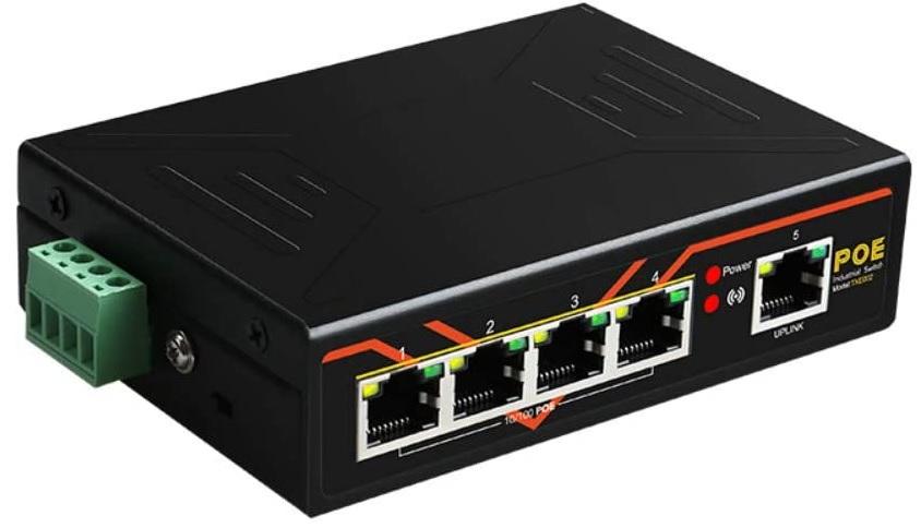 TXE002 -  SWITCH ETHERNET NÃO GERENCIÁVEL 4x 10/100Mbps POE IEEE 802.3af/at, 1x 10/100Mbps UP LINK, TRILHO DIN