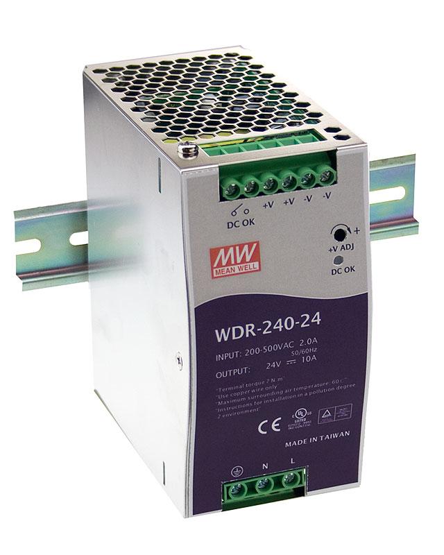 WDR-240 - Fonte de Alimentação Chaveada 240Watts, Função PFC, Trilho DIN