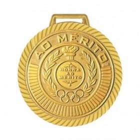 Kit com 20 Medalhas Rema Honra Ao Mérito 60mm Com Fita Cor Ouro