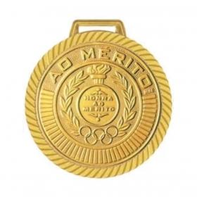 Kit com 40 Medalhas Rema Honra Ao Mérito 40mm Com Fita Cor Bronze