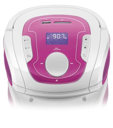 Caixa de Som Boombox Bluetooth Som 5 Em 1 Rosa E Branca Mult