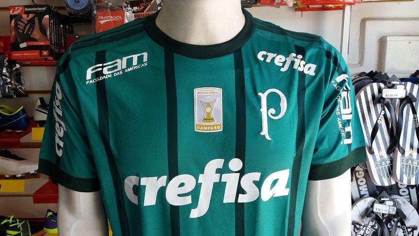 76c6e4587154f ... Camisa Palmeiras 1 2017 2018 S Nº com Patch Brasileirão 2016 Authentic  ...