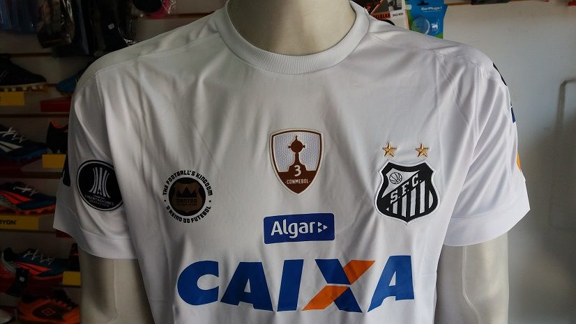 b36b1d9f5e973 ... Camisa Santos 1 2017 2018 Libertadores S Nº com Patch Commebol  Authentic ...