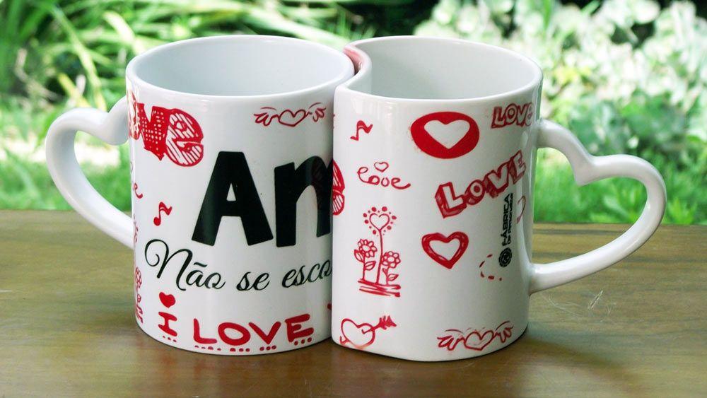 Caneca Porcelana Dupla Dia Dos Namorados