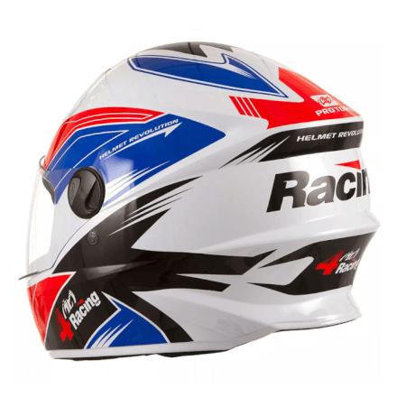 Capacete 4 Racing (+ Viseira Cromada) Vermelho/Azul | 56 Pro