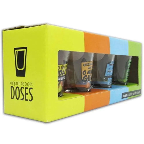 Conjunto 4 Copos Dose Brasfoot - Frases de Bebidas