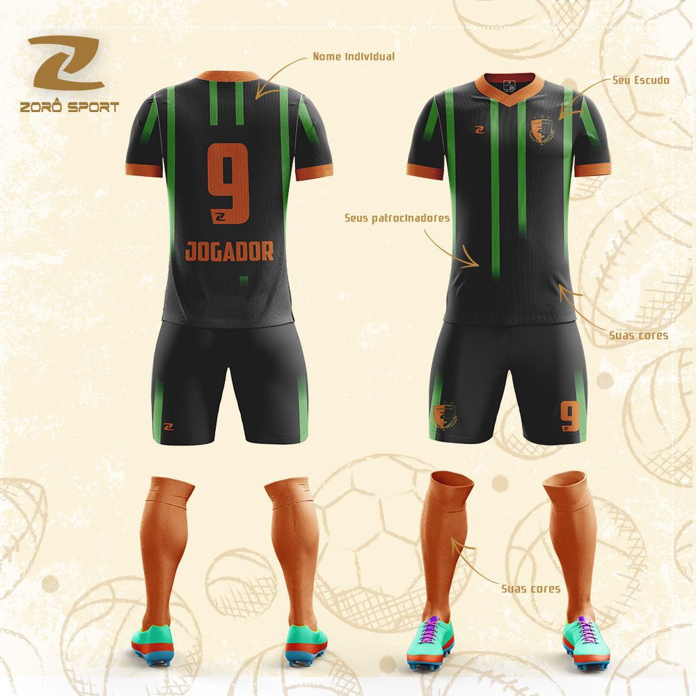 Kit C/10 Uniformes Camisa Calção Meião Personalizado Zoro Sport