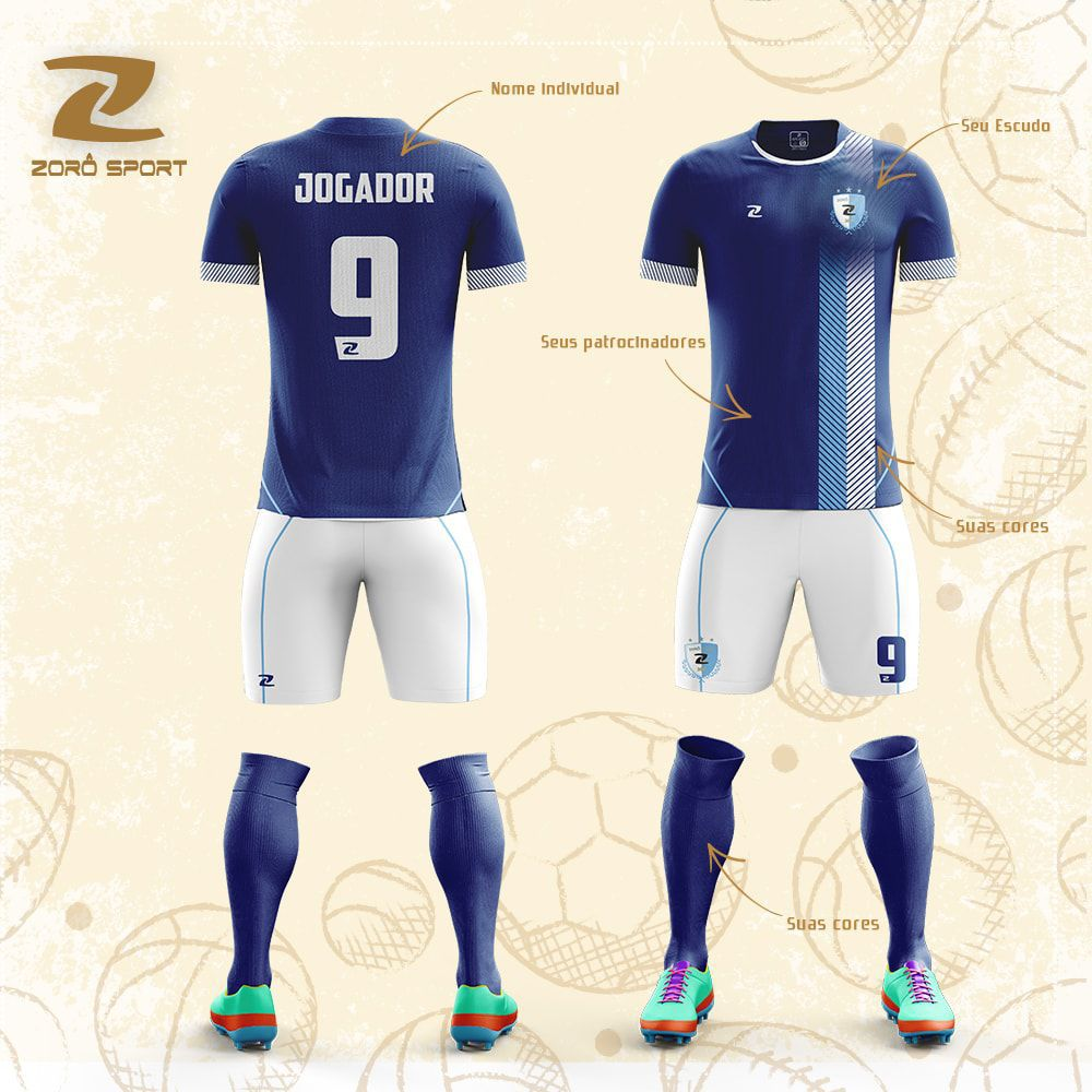 Kit com 12 Uniformes (Camisa, Calção, Meião) Personalizado Zoro Sport