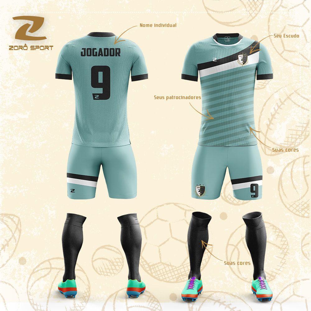Kit C/18 Uniformes Camisa Calção Meião Personalizado Zoro Sport