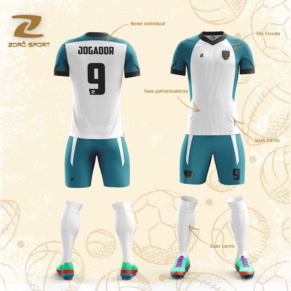 Kit C/19 Uniformes Camisa Calção Meião Personalizado Zoro Sport