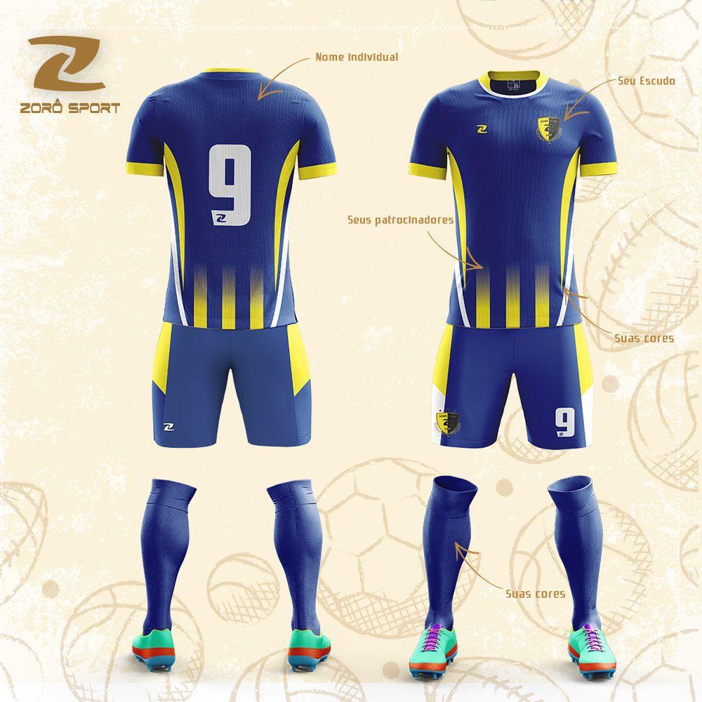 Kit com 20 Uniformes (Camisa, Calção, Meião) Personalizado Zoro Sport