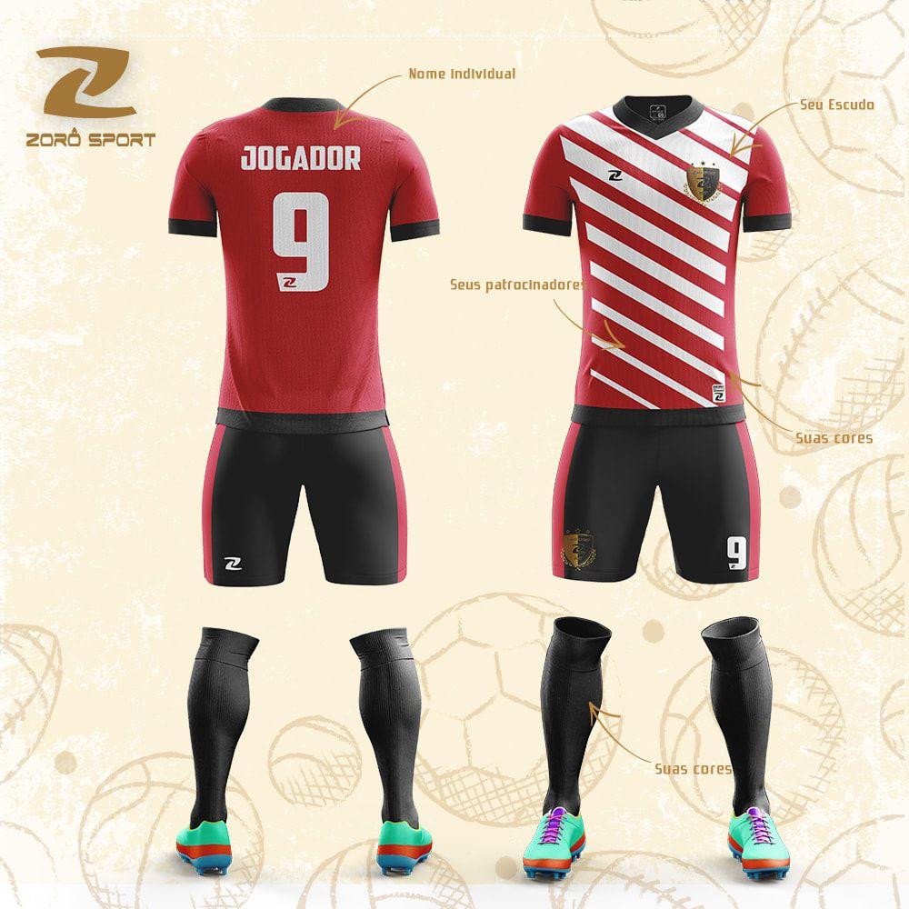Kit com 14 Uniformes (Camisa, Calção, Meião) Personalizado Zoro Sport