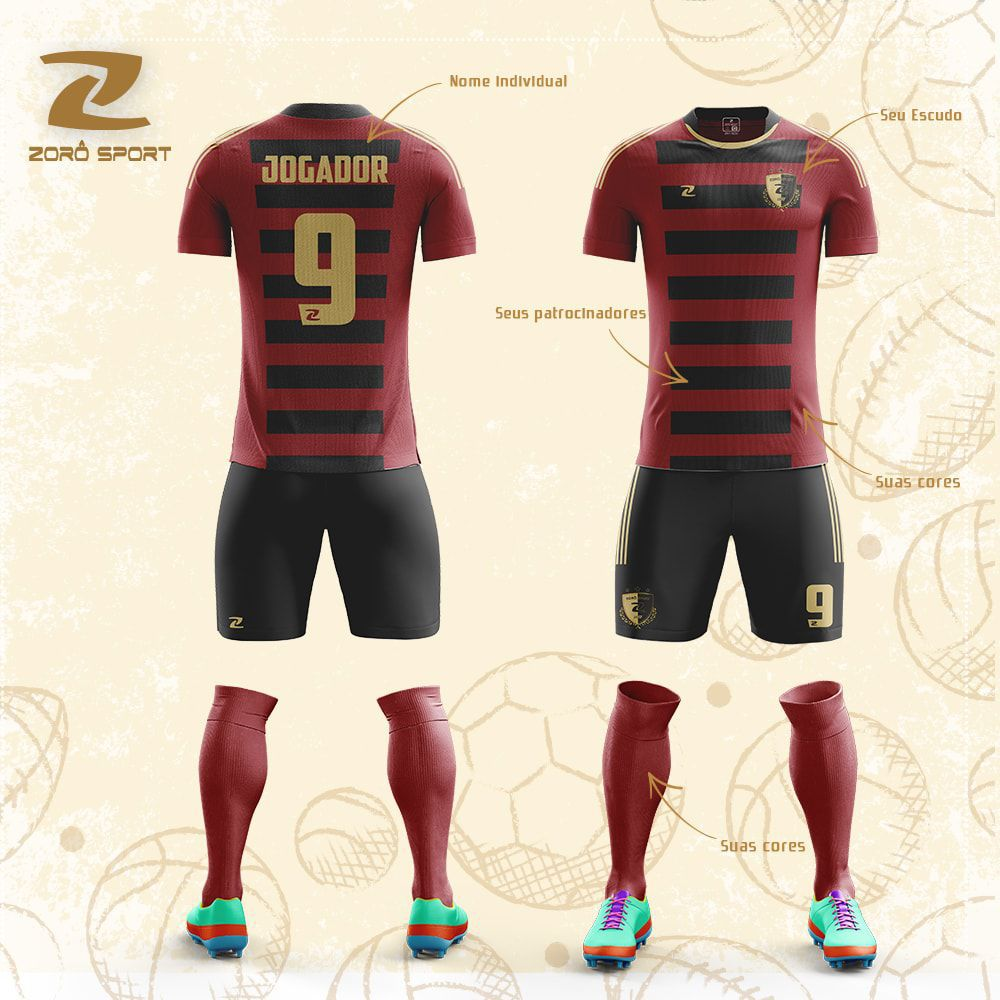 Kit com 25 Uniformes (Camisa, Calção, Meião) Personalizado Zoro Sport