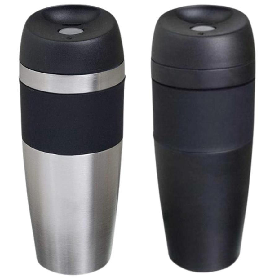 Kit com 2 Copos Térmico Mokha Rub Hermético 450ml Aço Inox Preto e Prata