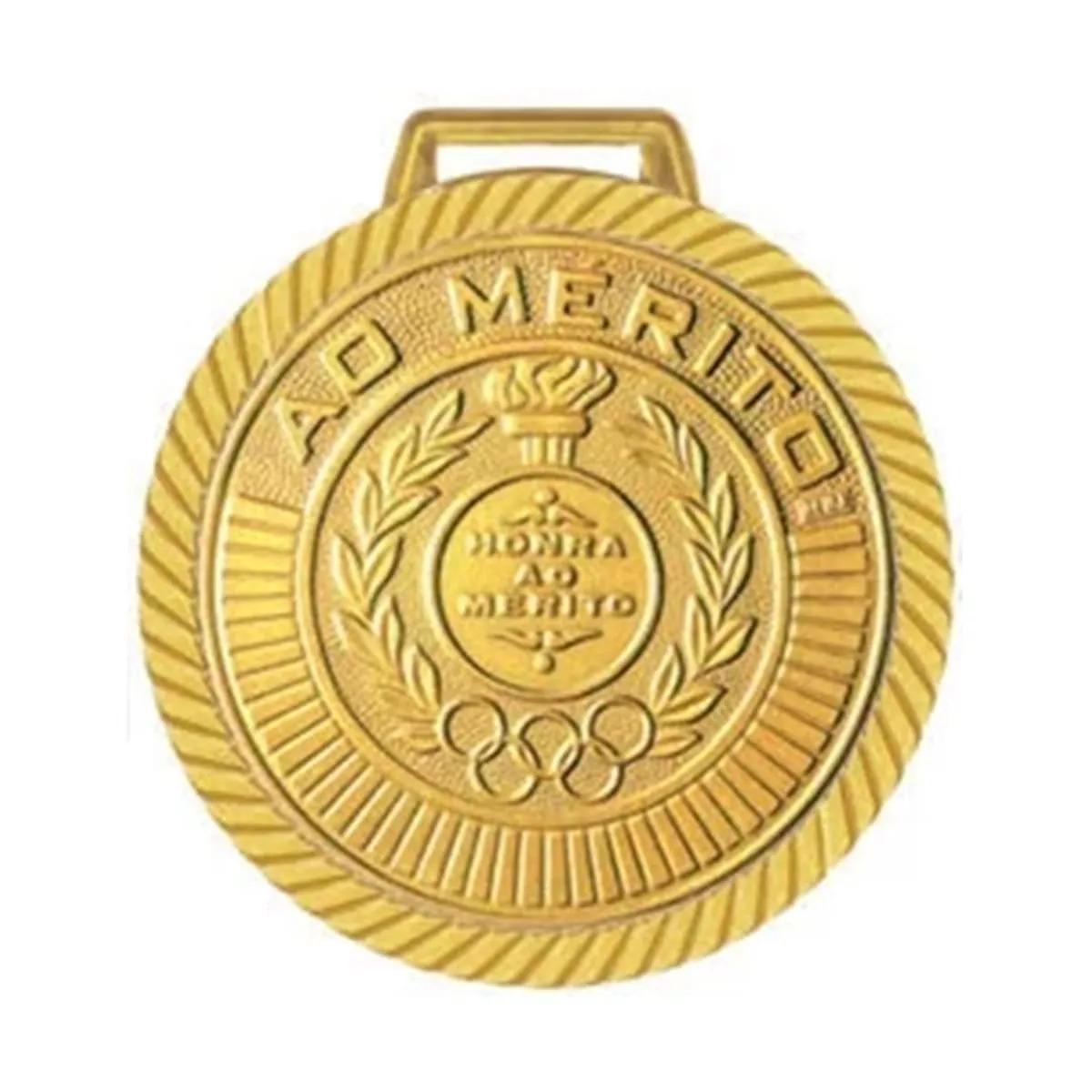 Kit com 40 Medalhas Rema Honra Ao Mérito 40mm Com Fita Cor Ouro
