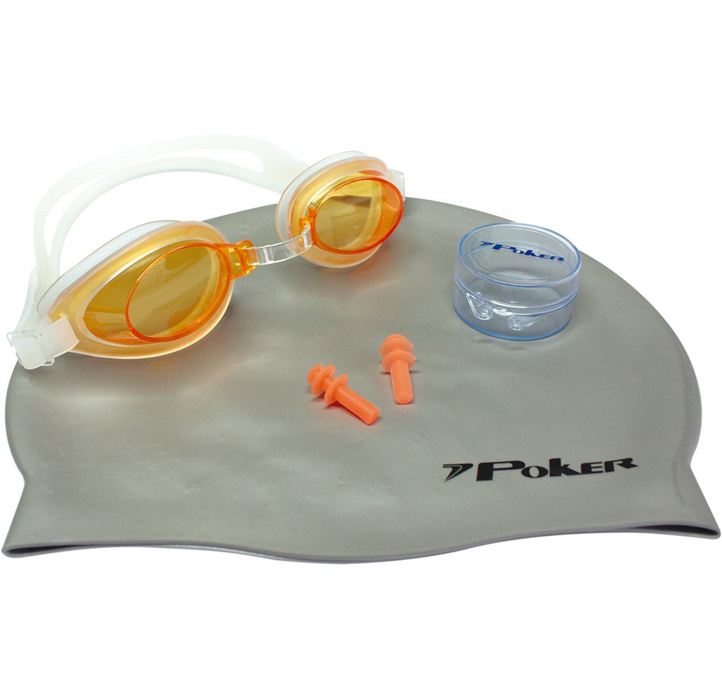 Kit Natação Poker Aruba com Óculos, Touca e Protetor de Ouvidos