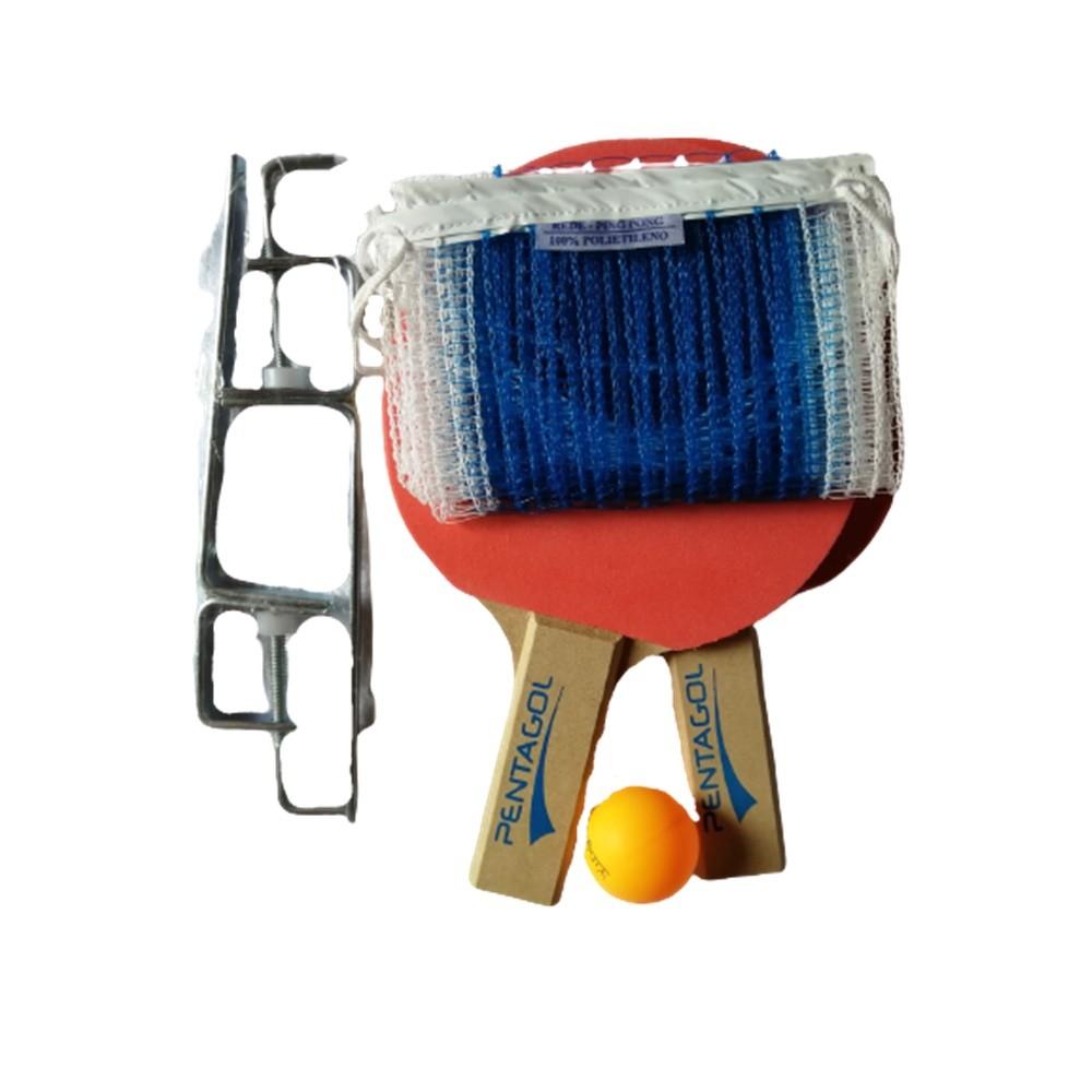 Kit Tenis de Mesa Pentagol com Raquete Bolas e Rede