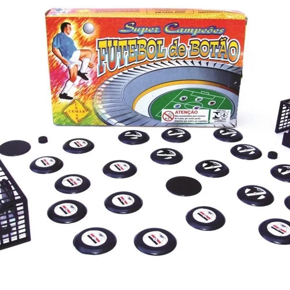 Mesa Campo Pentagol + Jogo Futebol de Botão com 2 Times Cemar - 92cm x 62cm