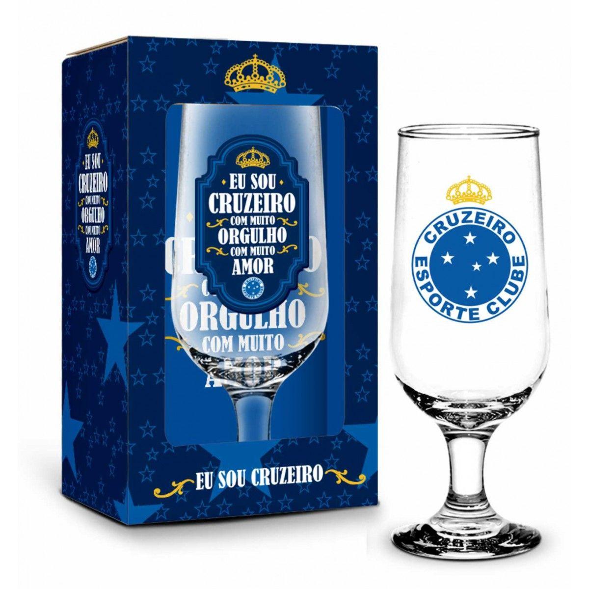 Taça na Caixa 300ML Cruzeiro - Eu Sou Cruzeiro Com Muito Orgulho Com Muito Amor