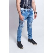 Calça Jeans com Stretch Blue light e Used na frente