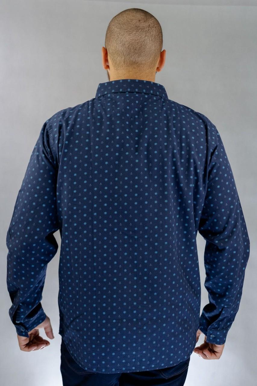 Camisa Social O'Born Estampada Azul