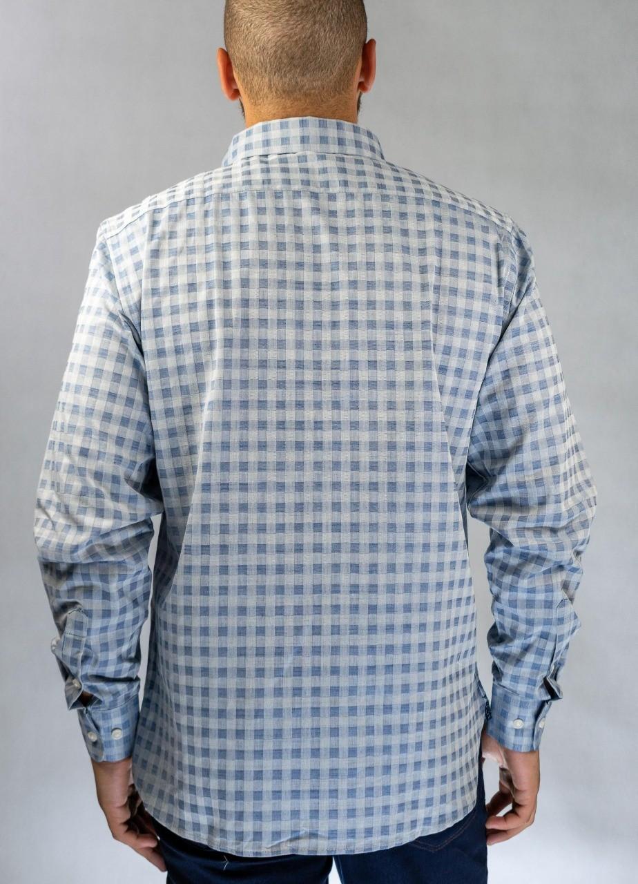 Camisa Social Quadriculada Azul