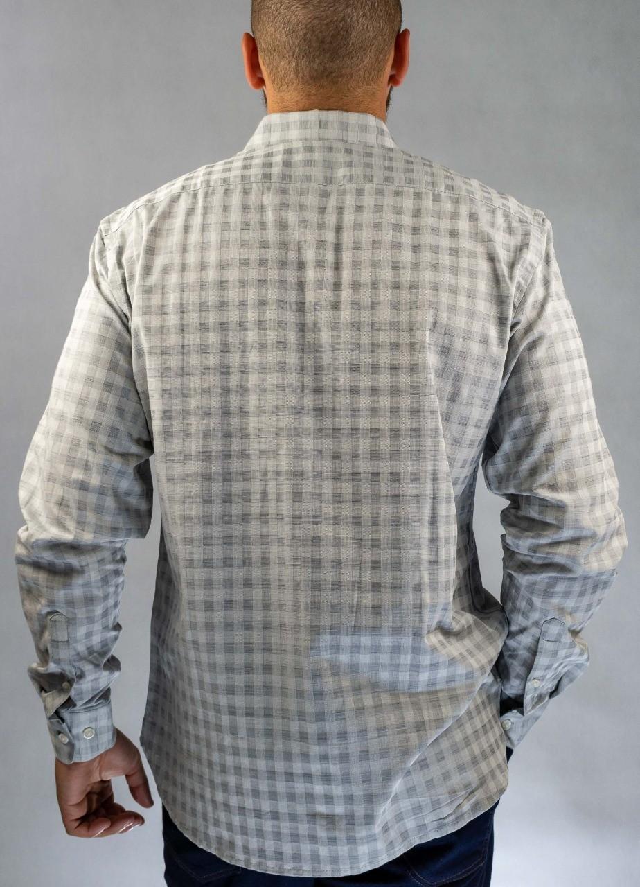 Camisa Social Quadriculada Cinza