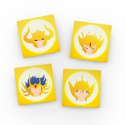 Porta Copos de Acrílico - Cavaleiros do Zodíaco de Ouro