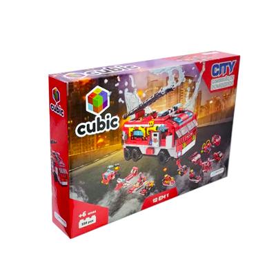 Blocos de Montar Cubic City Modelo Caminhão de Bombeiros 12 em 1 com 558 Peças - Multikids - BR1200