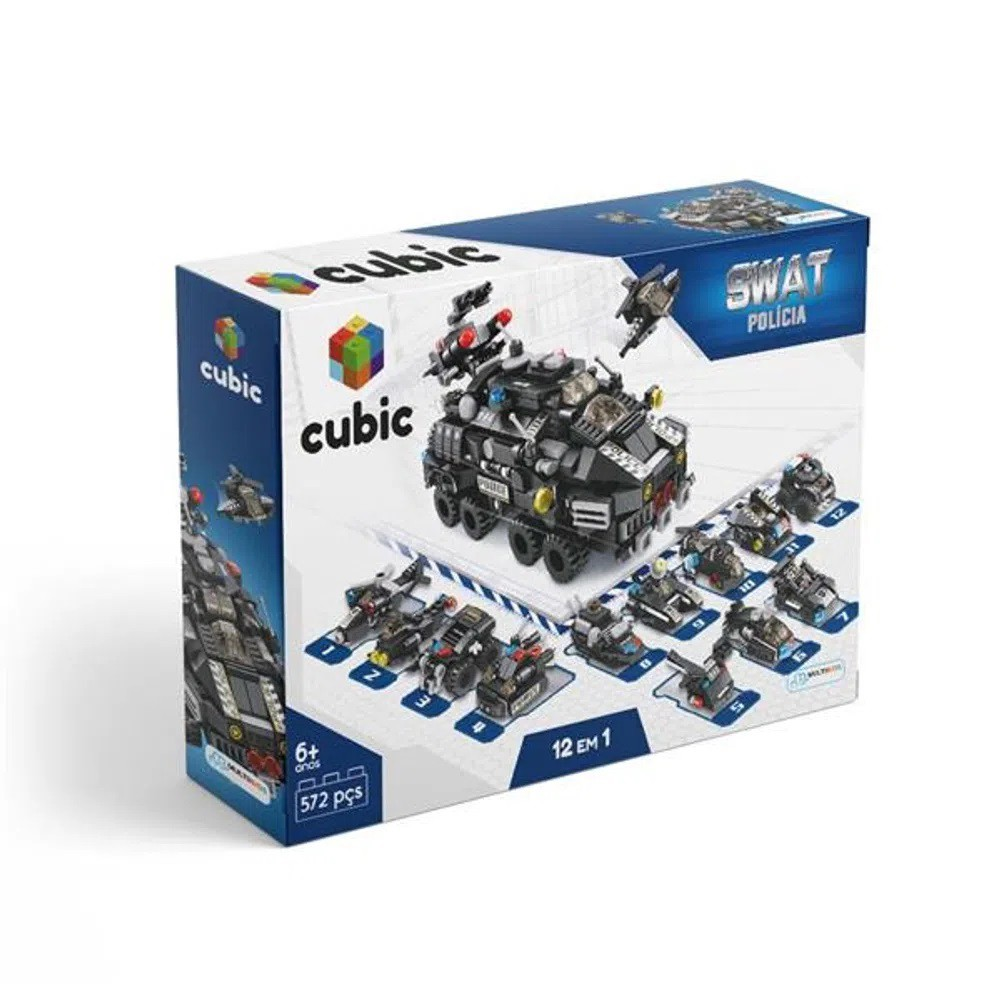 Blocos de Montar Cubic Modelo Polícia 12 em 1 com 572 Peças - Multikids - BR1095