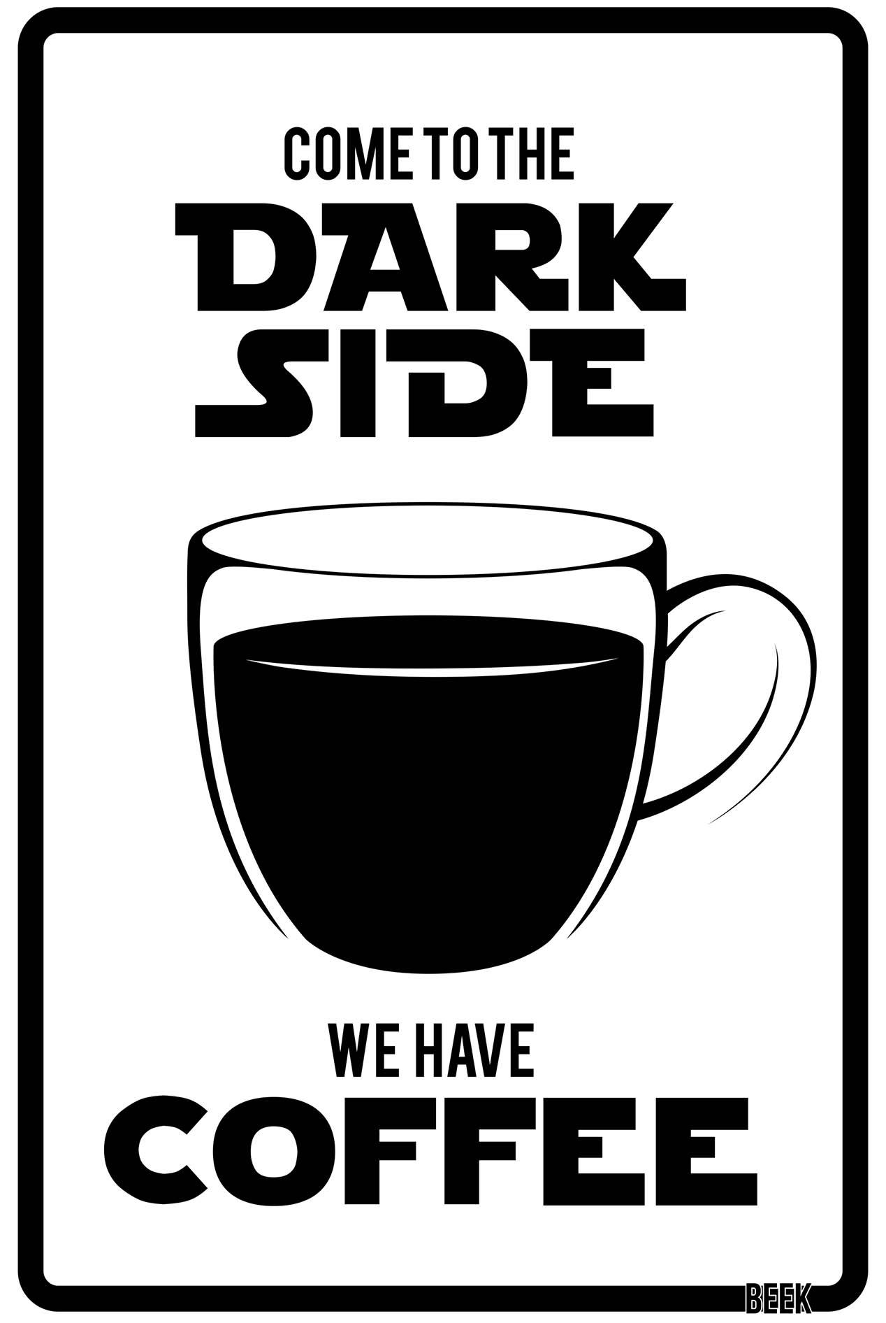 Placa Decorativa Dark Side Coffee - Star Wars