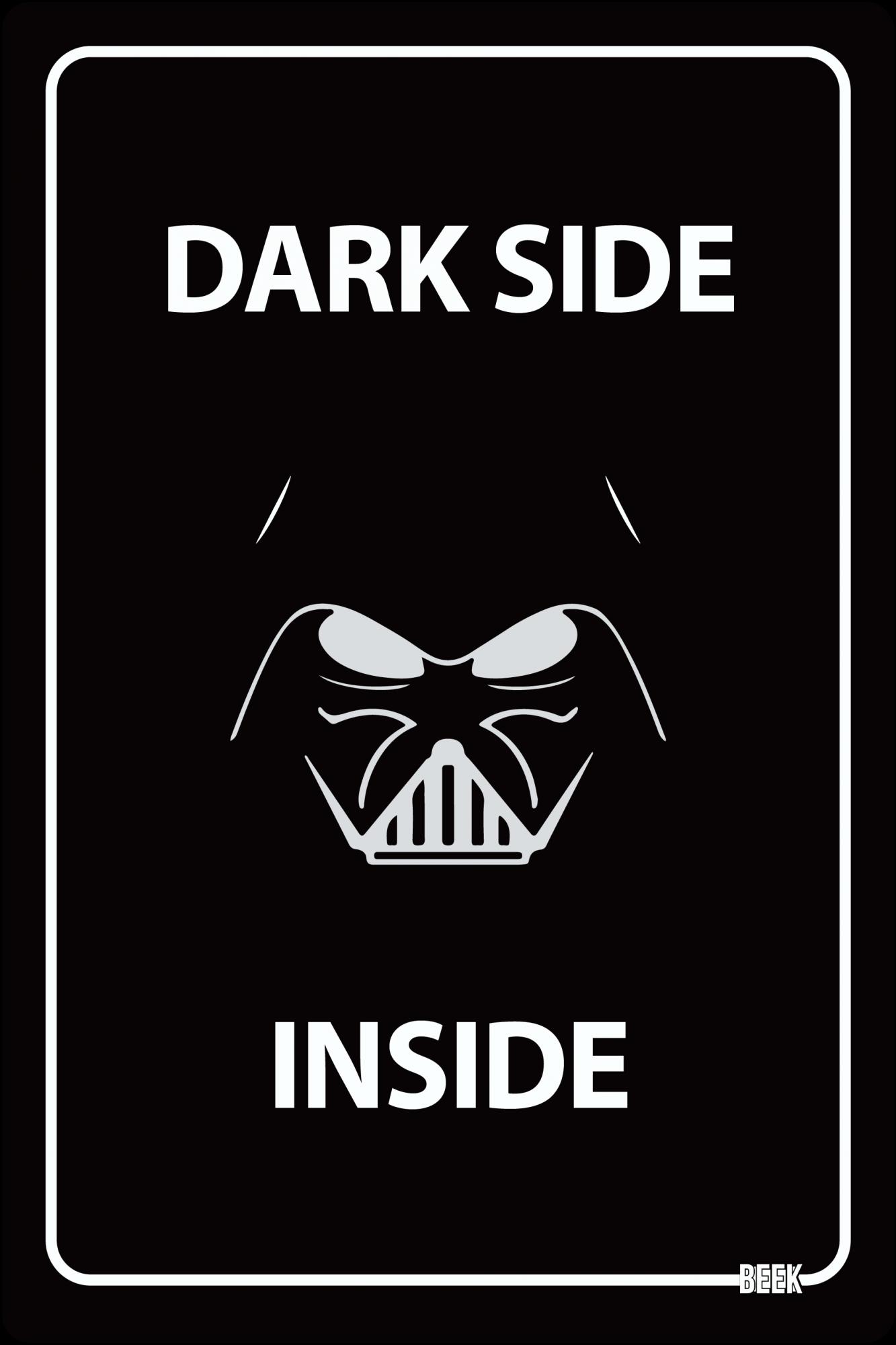 Placa Decorativa Dark Side Inside - Star Wars Darth Vader