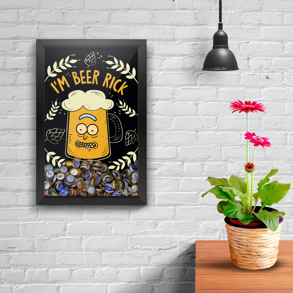 Quadro Porta Tampinhas - Beer Rick - Rick and Morty