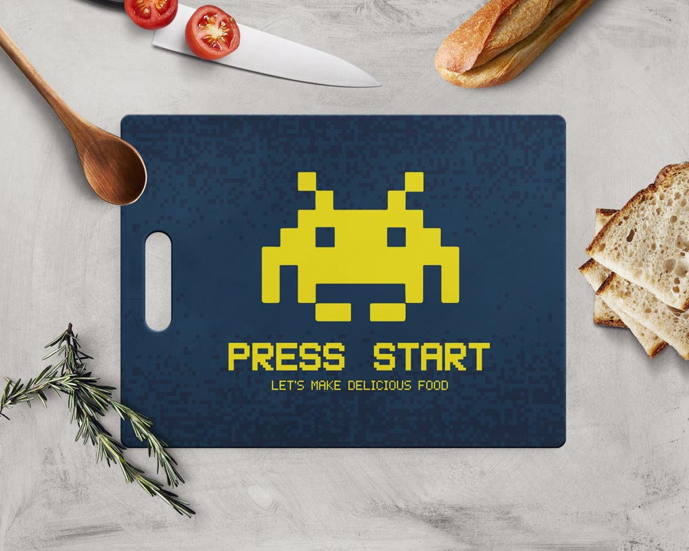 Tábua de Carne de Vidro 35x25cm - Press Start