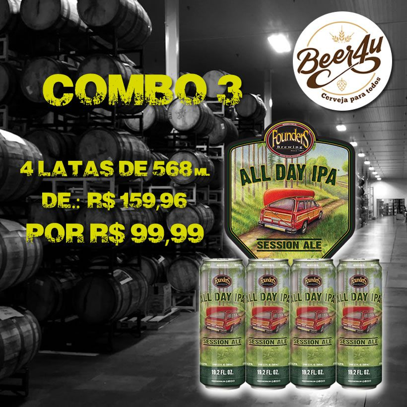Combo 3 - Founders All Day IPA Latão 568ml - 4 unidades