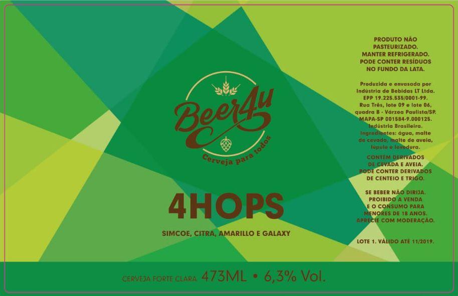 Beer4u 4 Hops Lata 473ml American IPA + Caldereta Beer4u